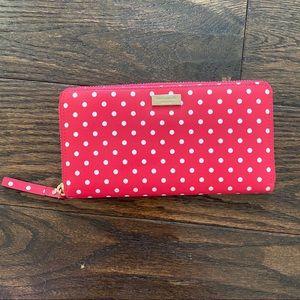 Kate Spade polka dot zip around wallet